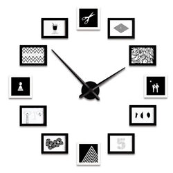 Photo Frame Wall Clock 12pcs Modern Design Nordic Style Living Room Home Decor