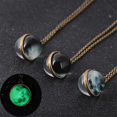Glow In Dark Full Moon Crescent Glass Ball Pendant Luminous Women Necklace