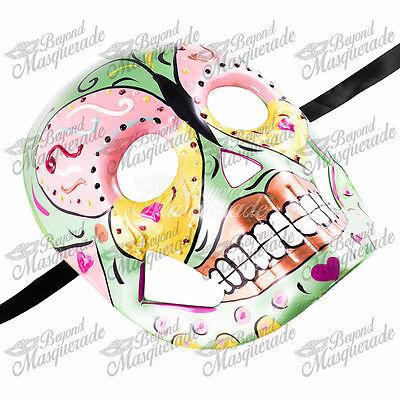 Womens Day of the Dead Skeleton Skull Halloween Masquerade Mask Green Jester