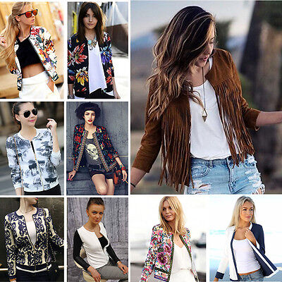 Women Jacket Floral Printed Embroidery Short Coat Outwear Blazers Suits Cardigan