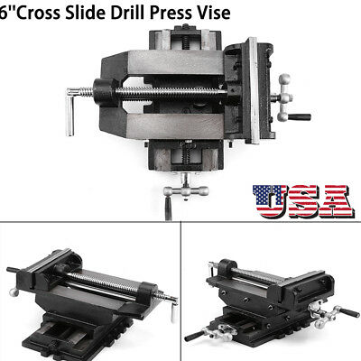 6inch Cross Drill Press Vise Slide Metal Milling 2 Way X-y Clamp Machine Black
