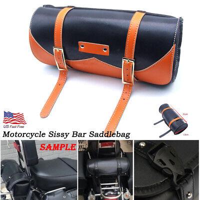 Motorcycle Handlebar Sissy Bar Bag Saddlebag Fork Roll Barrel Bag FOR Harley 883 for sale  USA