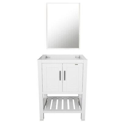 24 Inch Modern Bathroom Vanity Cabinet Only W Mirror Wood Single Table White For Sale Online