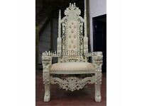2 x NEW Lion King Throne Chair (175cm) Ivory White Asian Wedding Queen French Ornate Luxury Antique
