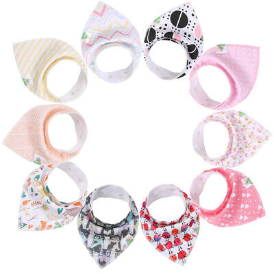 Baby Girl Bandana Drool Bibs-10 Pack100% Organic Cotton for drooling/teething Organic Baby Bib
