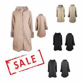 FREE DELIVERY AMAVISSE UK - NEW Women Clothes Winter Fashion Long Coat Faux Acrylic Sheep like Fur