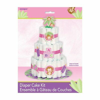 Diaper Cake Kit (New Girl Monkey Baby Shower Diaper Cake Kit 25 Pieces)