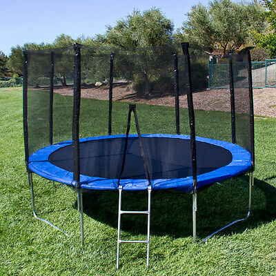12FT Round Trampoline Combo Safety Enclosure Bounce Jump Net w/Spring Pad&Ladder