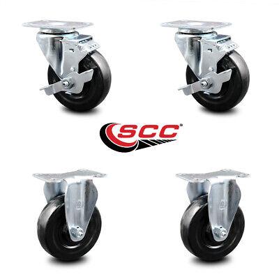 Hard Rubber Caster Set Of 4 W4 Wheels - 2 Wbrakes 2 Rigid