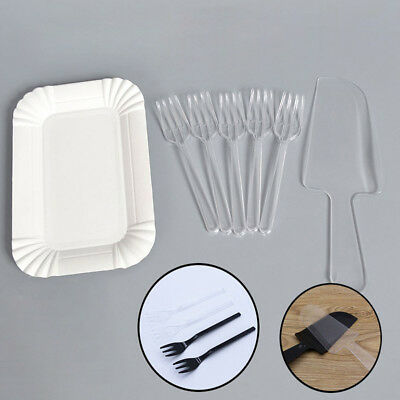 10 Plates, 10 Forks, 1 Cake Knife Plastic Disposable Party Cutlery (ChosenColor)](Plastic Cake Plates)