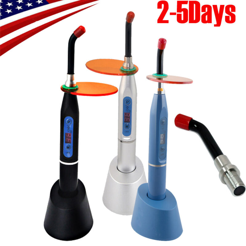 【USA】Dental LED Curing Light Lamp Wireless Cordless Cure 10W +Tip Optional  CE