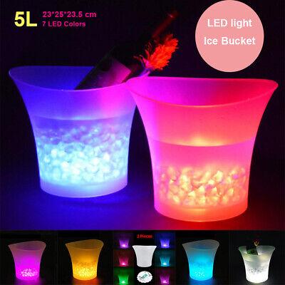 LED Eiskübel Eiskühler Eiswürfelbehälter 7 Farbwechsel Wein Champagnerkühler 5L