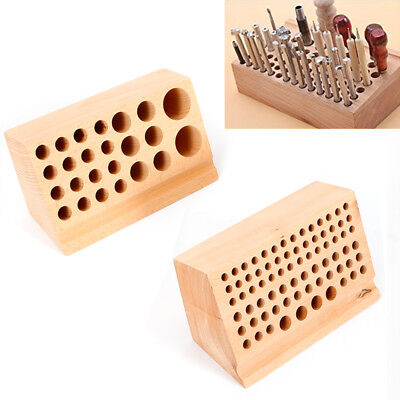 Leather craft Punch Tool Kit wood tool Rack Wooden Stamp holder Stand 76/24 Hole - Holder Craft Kit