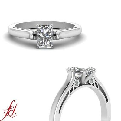 1/2 Carat Radiant Very Good Cut VVS2 Diamond Engagement Ring Bezel Set 14K GIA