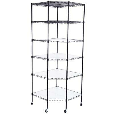 27 X 27 X 71 6-tier Wire Shelving Adjustable Rolling Rack Corner Storage Garage
