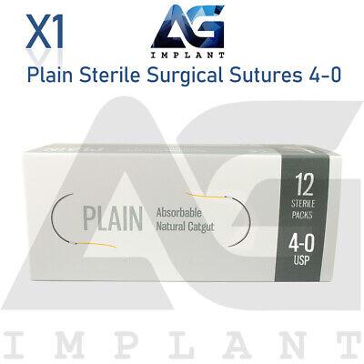 4-0 Plain Sterile Surgical Sutures Absorbable Monofilament Medical Dental 12pcs