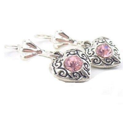 Trachtenschmuck Brisur Ohrringe Ohrhänger Herz 3D rosa Kristall antikstil M31 (Antik Trachten Schmuck Ringe)