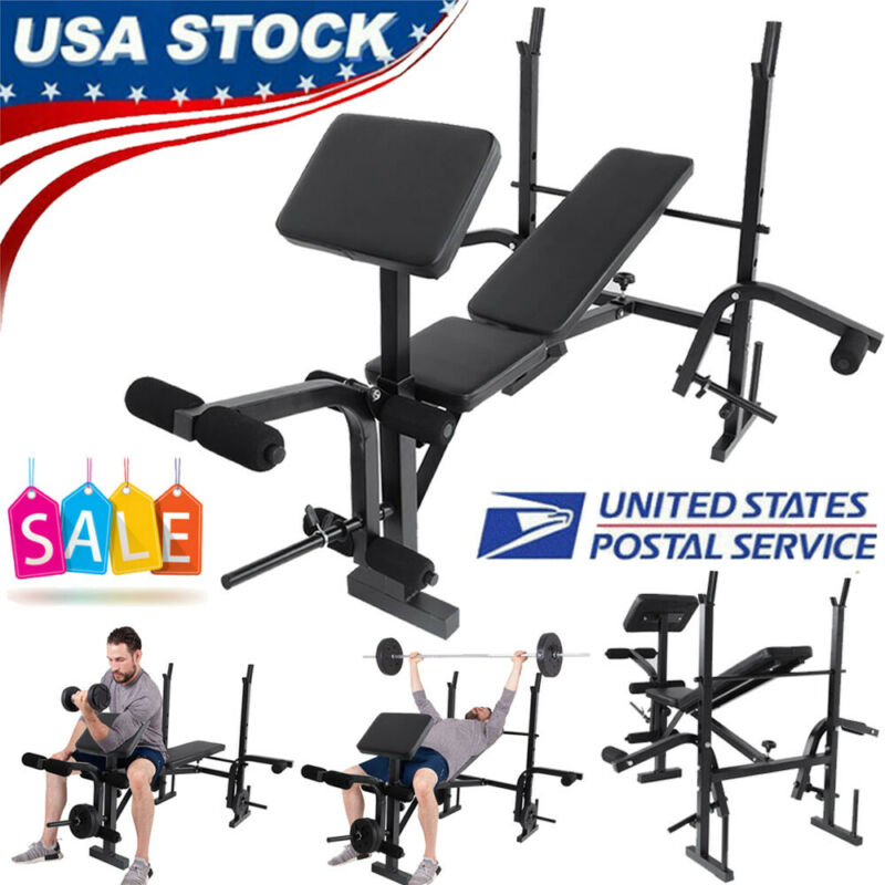 Home Gym Adjustable Weight Bench Barbell Lifting Workout Fitness Incline