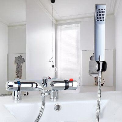 US Bathtub Deck Mount Thermostatic Mixer Valve Handheld Shower Spray Faucet -