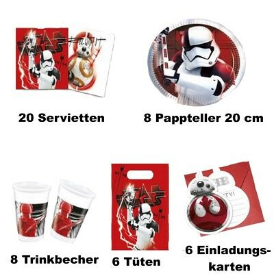 Party Deko Kindergeburtstag Star Wars Episode 8 Partyset 48 Teile: (Star Wars Party Set)