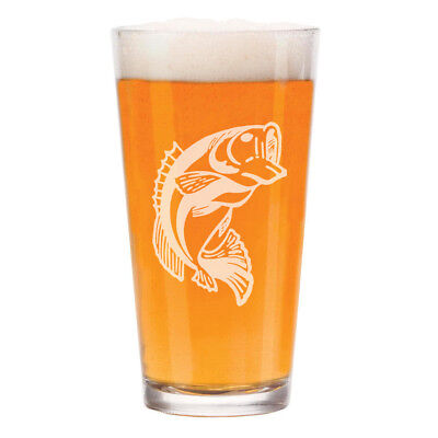 16 oz Beer Pint Glass Bass Fish (16 Oz Pint)