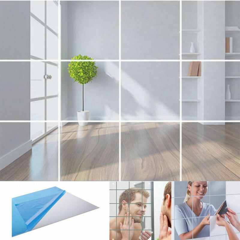Home Decoration - 16Pcs Mirror Tile Wall Stickers Square Self Adhesive Bathroom Decor Stick Art