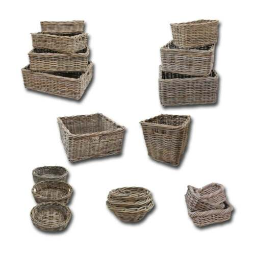 Wicker grey buff rattan storage basket tray cube small for 50cm deep kitchen units