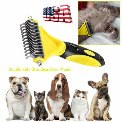Pet Dog Hair Fur Grooming Rake Dematting Comb Brush Mat Knots Combing Remover US