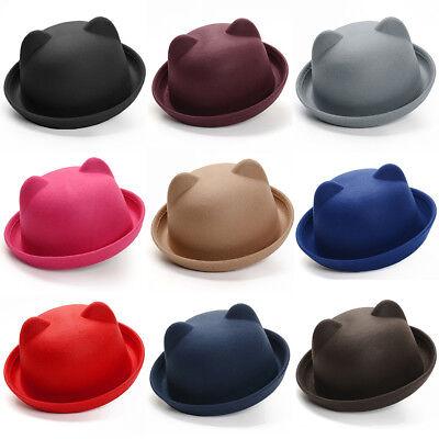 Women Kid Cute Wool Felt Bowler Hat Cat Ear Dome Fedora Cloche Bucket Top Hats - Bowler Hat Kids