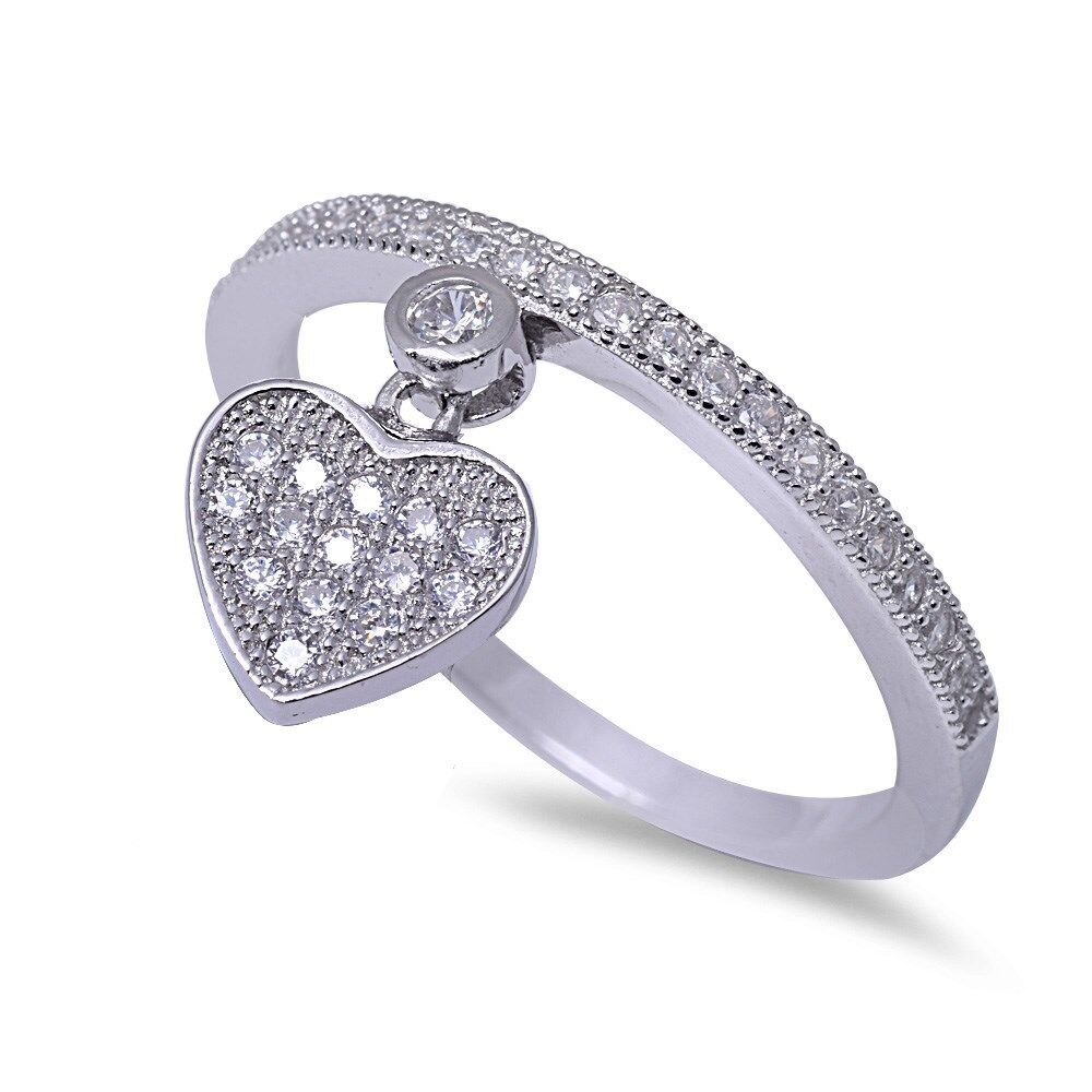 925 Sterling Silver Heart with Pave Setting CZ Cubic Zirconia Ring 5-10