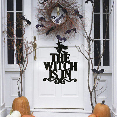 Diy Happy Halloween Sign (The Witch IS IN DIY Halloween Hanging Sign Wall Door Decoration Party Home)