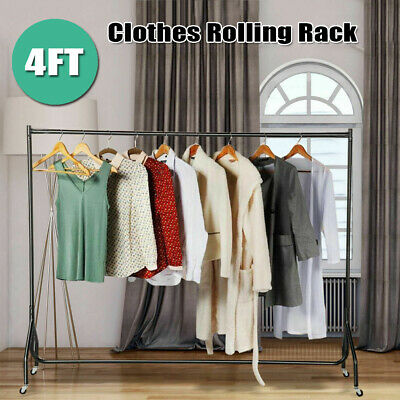 4ft Heavy Duty Portable Rolling Commercial Clothes Garment Dry Hanger Rack Rail