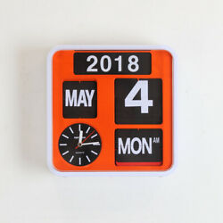 Fartech Retro Modern 9.5 Calendar Auto Flip Desk Wall Clock Orange
