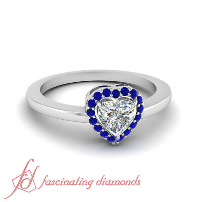 .60 Ct Heart Shaped FLAWLESS Diamond & Blue Sapphire Halo Engagement Ring GIA