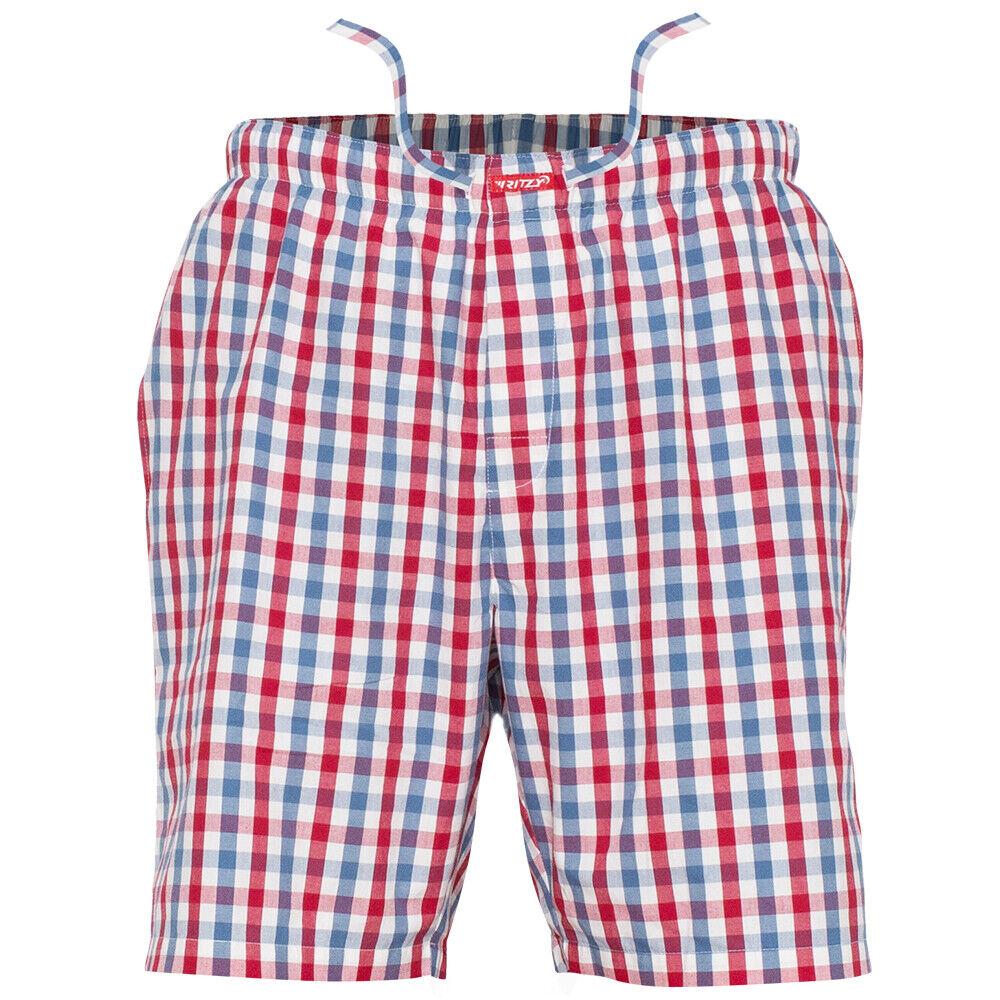 Ritzy Men's Sleep Short Pajama Pants 100% Cotton Plaid Woven Poplin – 3 Pack Clothing, Shoes & Accessories