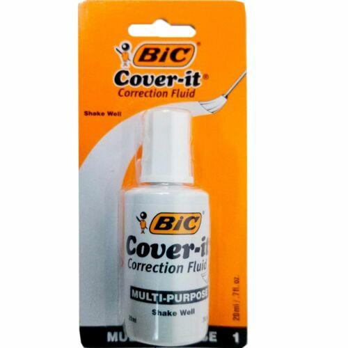 BIC Cover-It Correction Fluid .7 fl oz 20 Milliliter Bottle, White, (WOC12-WE)