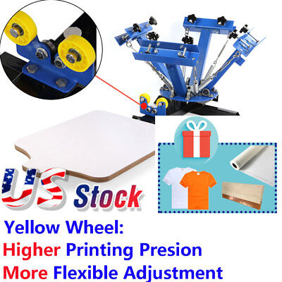 Us 4 Color Silk Screen Printing Press Machine Screening Pressing Single Station