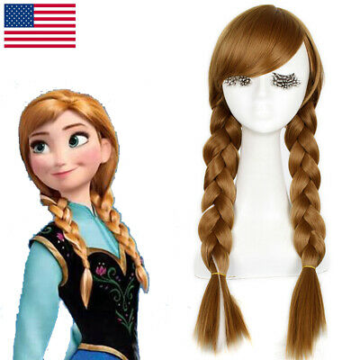 Frozen Princess Anna Cosplay Wig Brown Mixed White Double Braided Long - Frozen Anna Wig