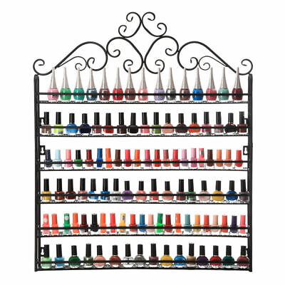 6 Tier Nail Polish Metal Rack Wall Mounted Display Organizer Hold 150 Bottles US for sale  Walnut