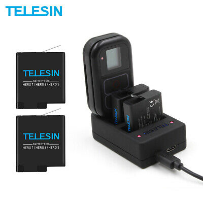 TELESIN 2 Battery + 3 Slots WiFi Remote Control Charger For Gopro Hero 5 6 7 8