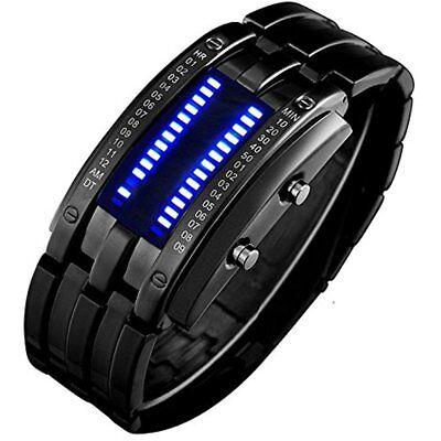 Wrist Watches Binary Matrix Blue Led Digital Waterproof Mens Classic Creative