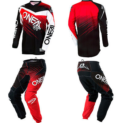 Oneal Element Red Motocross Off Road Mx Dirtbike Gear   Jersey Pants Combo Set