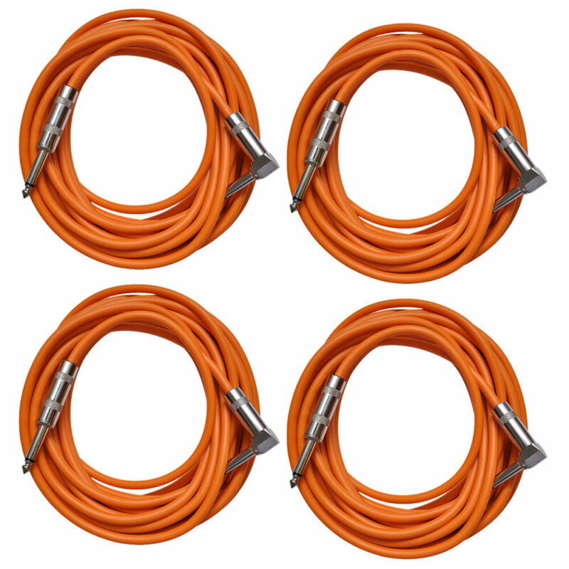 4 Pack of Orange 20 Foot Right Angle to Straight Guitar Instrument Cables