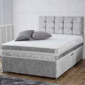 RYLEYS Crushed Velvet Divan Bed and Medium Firm Memoryfoam Mattress Single Bed/Double Bed/king