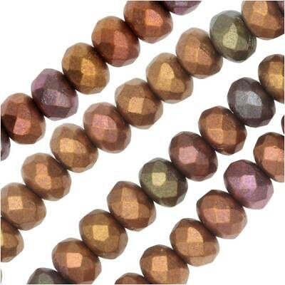 - Czech Fire Polished Glass, Donut Rondelle Beads 5x3.5mm, 50 Pcs, Violet Rainbow