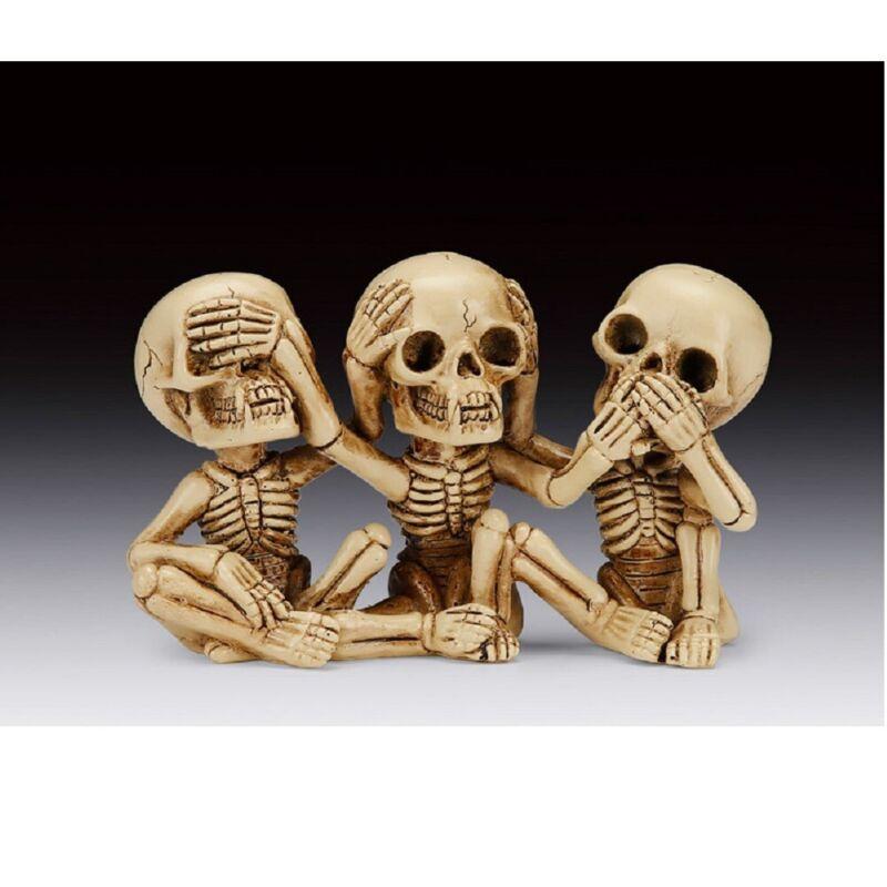 See Speak and Hear No Evil Skeletons Figurine 4 inch