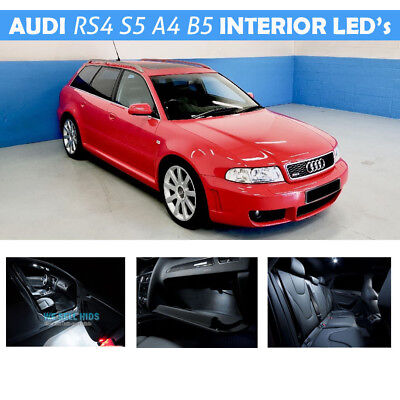 4 Light Kit (WHITE LED AUDI S4 RS4 B5 Avant Estate 13 PIECE INTERIOR MAP FOOT WELL LIGHT KIT)
