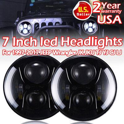 "2x 7"" Circle Angel Eyes CREE LED DRL Headlights 97-17 Jeep Wrangler JK TJ YJ CJ L"