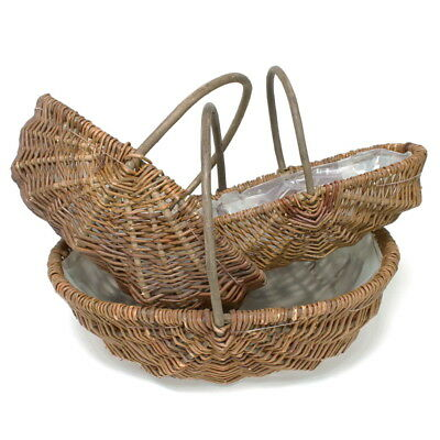 3er Set Erntekorb, Kartoffelkorb, Weidenkorb groß, natur, 41-36-32cm