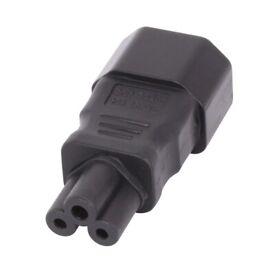 IEC C14 kettle 3 Pin Socket To IEC C5 Cloverleaf Plug Adapter